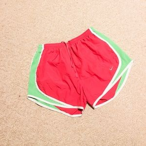 Pink and green Nike shorts size small